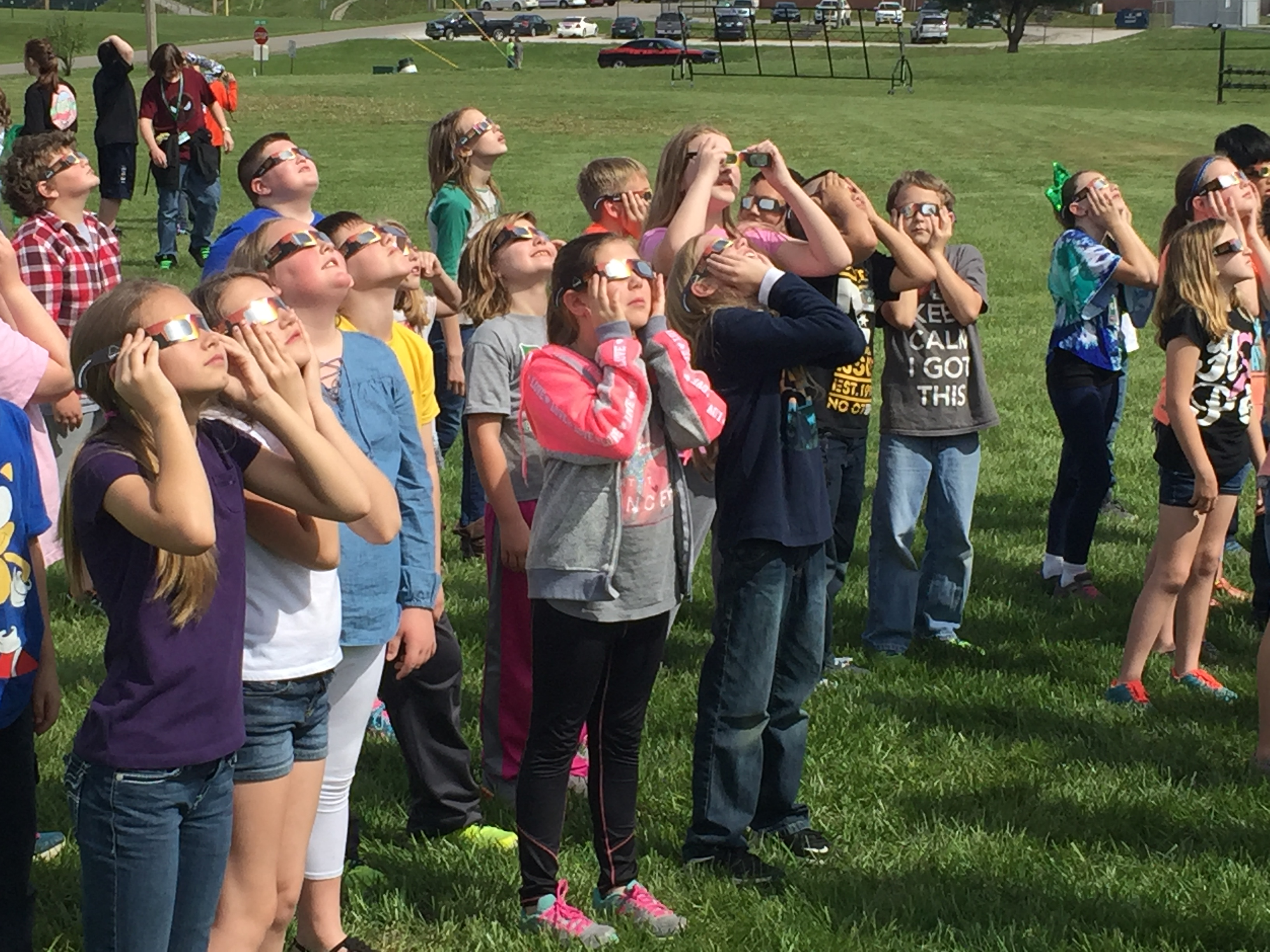 Kids at Perryville Middle School trying out eclipse glasses